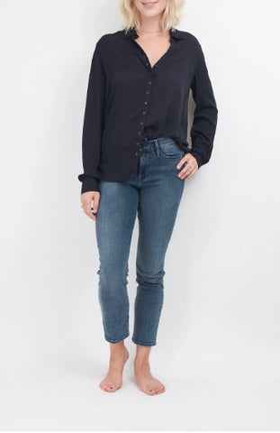 Pistola Elle Long Sleeve Snap Front Black Shirt