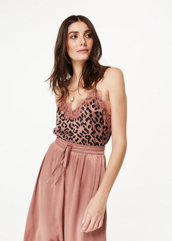Cami Racer Charmeuse Leopard Top