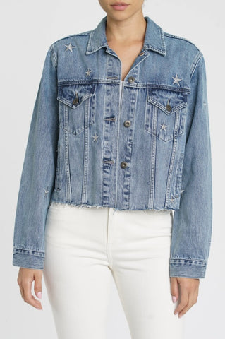 Pistola Naya Crop Star Embroidery Boyfriend Denim Jacket - Supernova