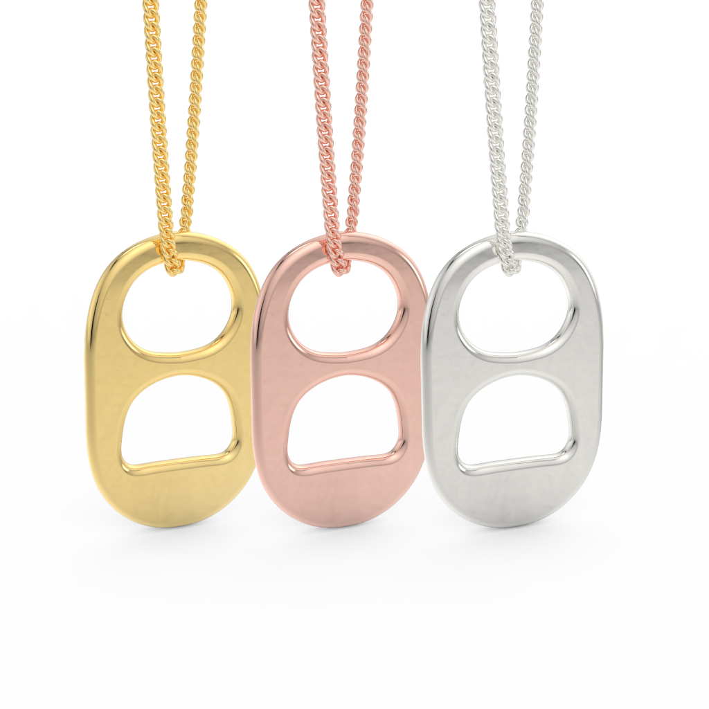 14kt Yellow, Rose and White Gold Soda Tab