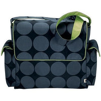 OiOi Nappy Bag Grey Dot Messenger with Green Lining