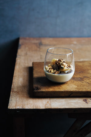 Truffle creams with maple syrup poached apple and oat crunch