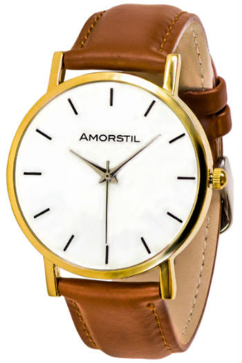 Gold Watch with Brown Leather Band - Amorstil 4d3a82ac4