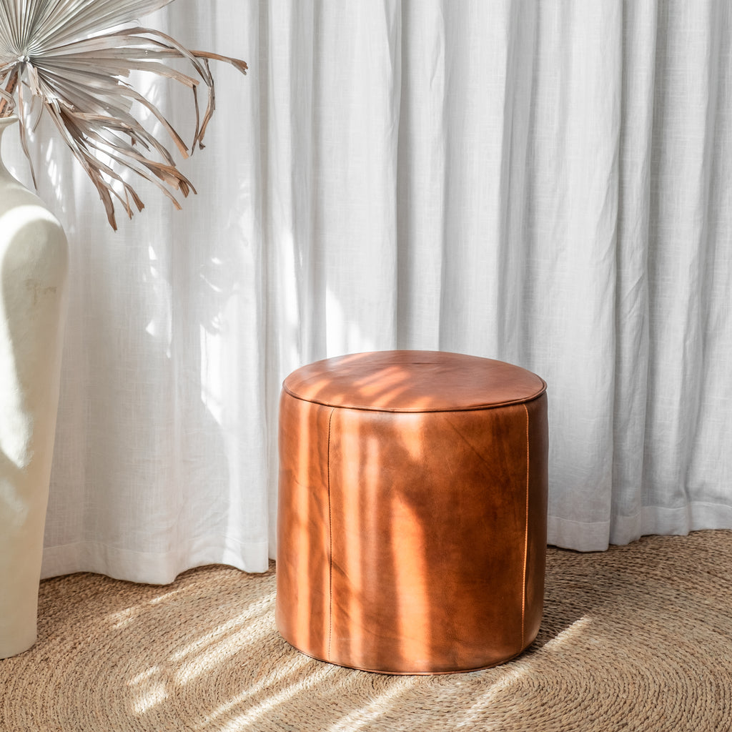 Bill Leather Pouf - McMullin & co.