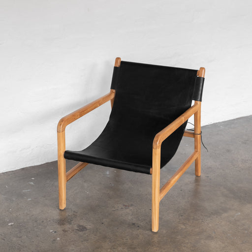 Felix Leather Sling Chair - Black
