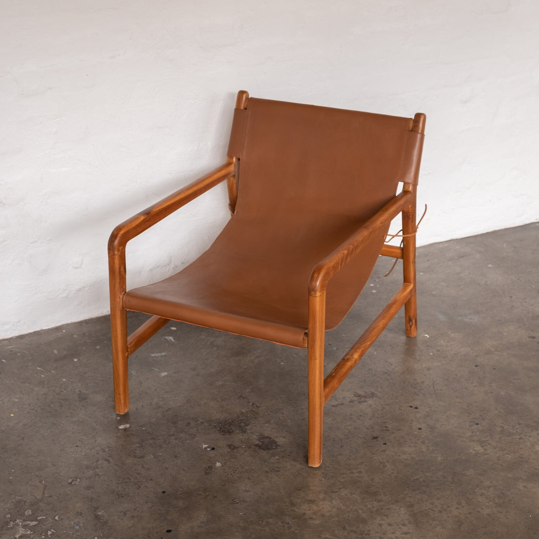 Felix Leather Sling Chair - Brown