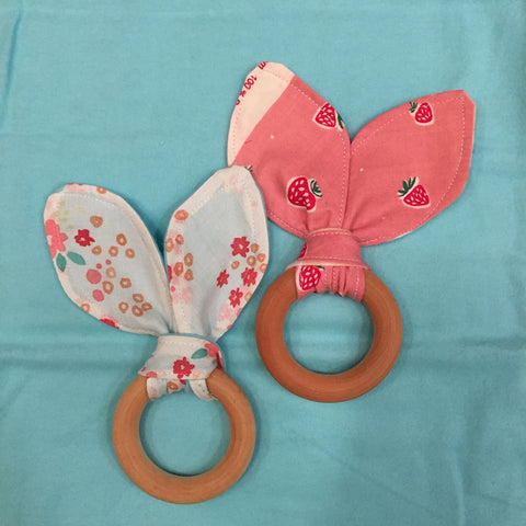 Organic Bunny Ear With Wooden Teething Ring