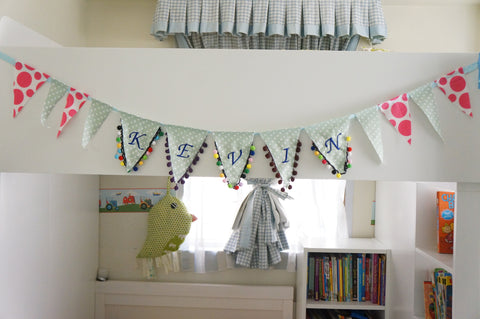 Personalized Name Bunting With Pompom Trim