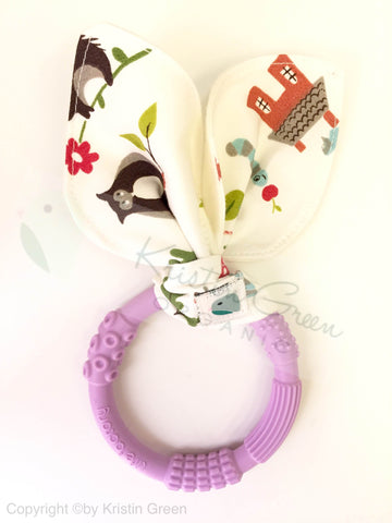 Organic Bunny Ear Silicone Teething Ring
