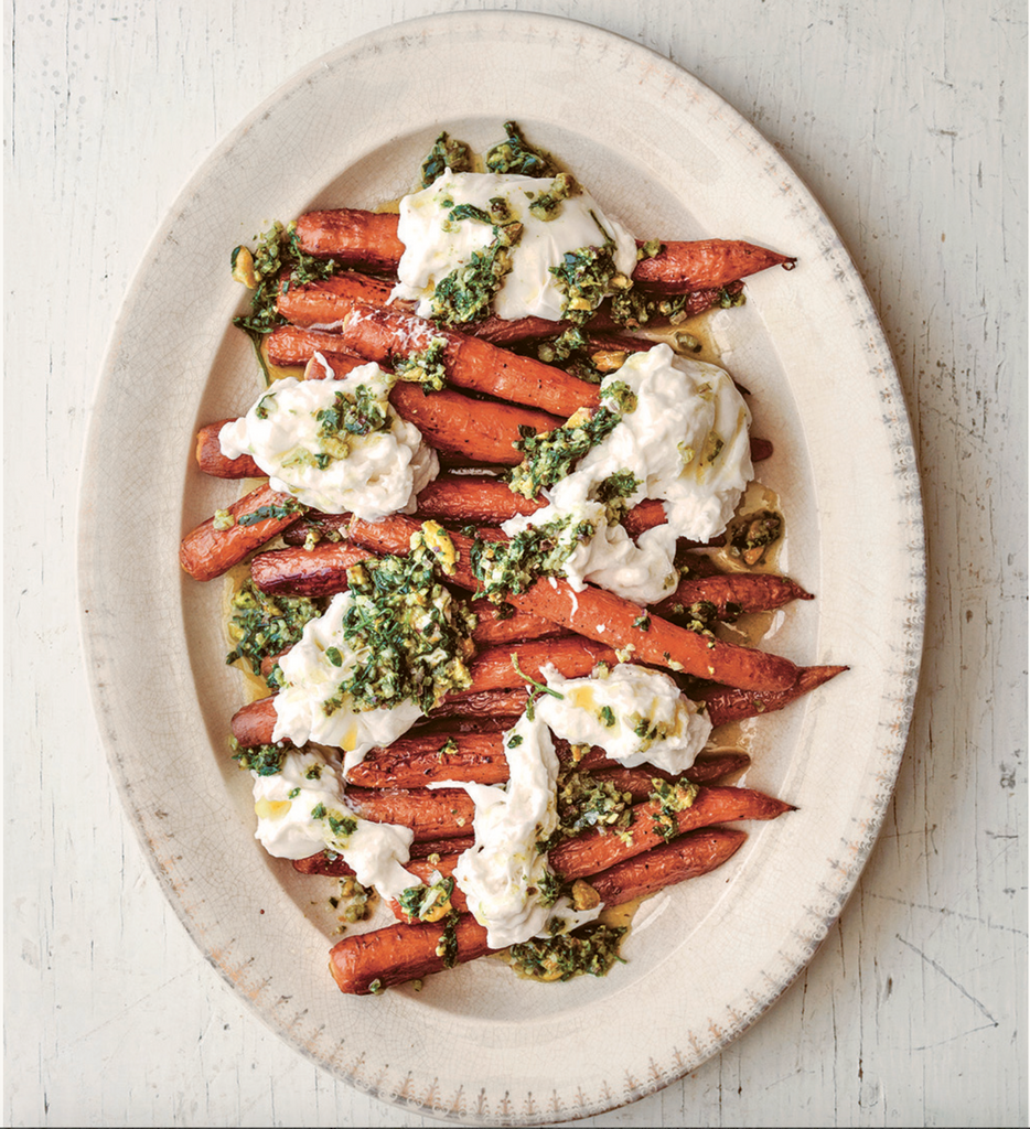 Roasted Carrots with Burrata and Salsa Rustica