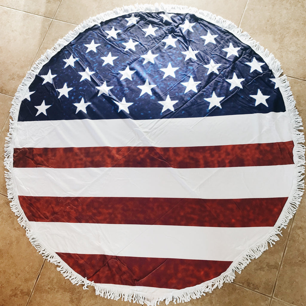 Circle-Shaped American Flag Cotton Towel