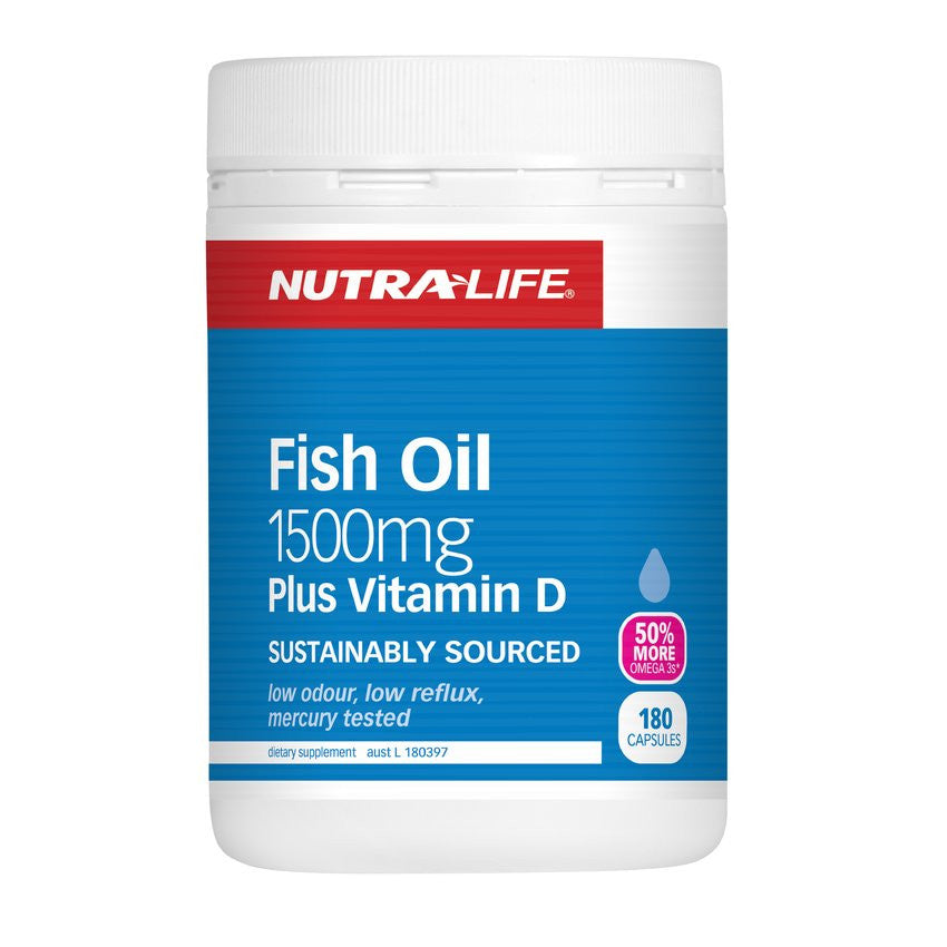 Nutra-Life Omega 3 Fish Oil 1500mg Plus Vitamin D 180s - Green Cross Chemist