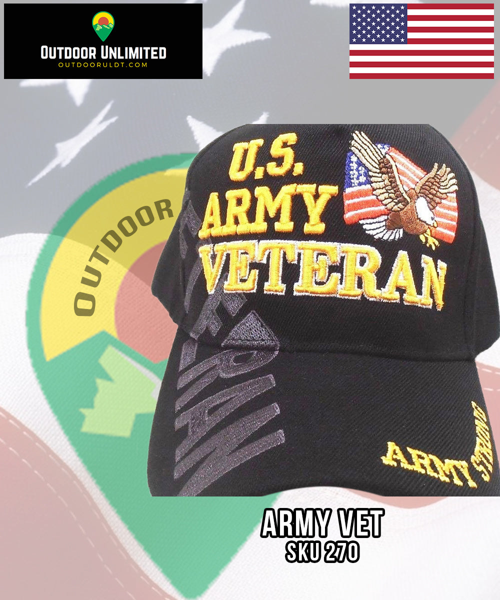 U S  Army Veteran Hat Eagle Flag Hat