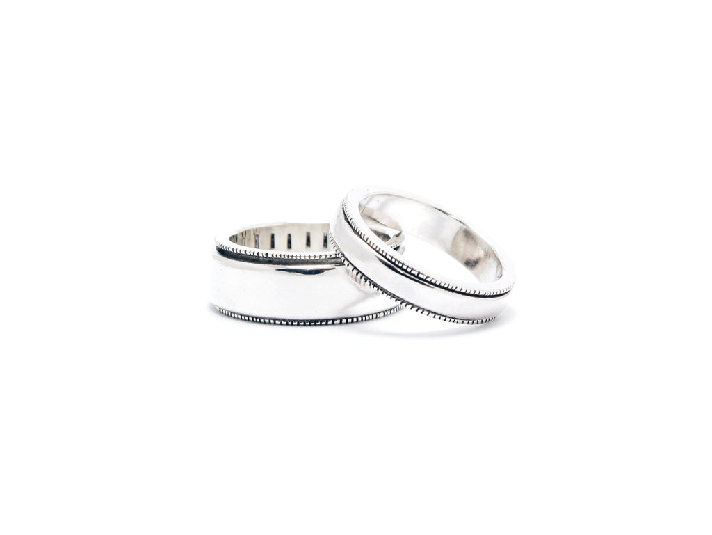 Stale & Co / Stelliyah - Spinner Silver Wedding Bands with Hand Hammered Details