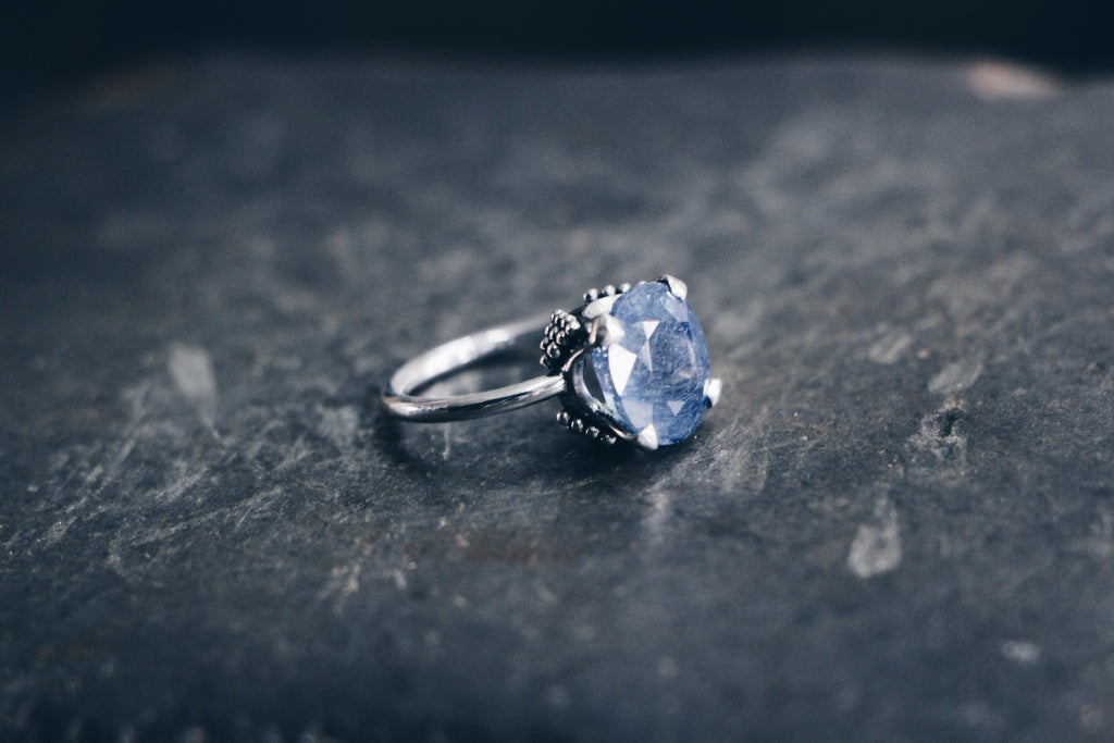 Stelliyah - Crown Set Sapphire Ring with Granulation Pyramid Details