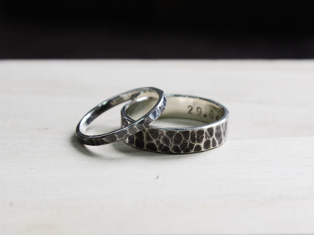 Stale & Co / Stelliyah - Hammered Textured with Oxidized Details Silver Wedding Bands