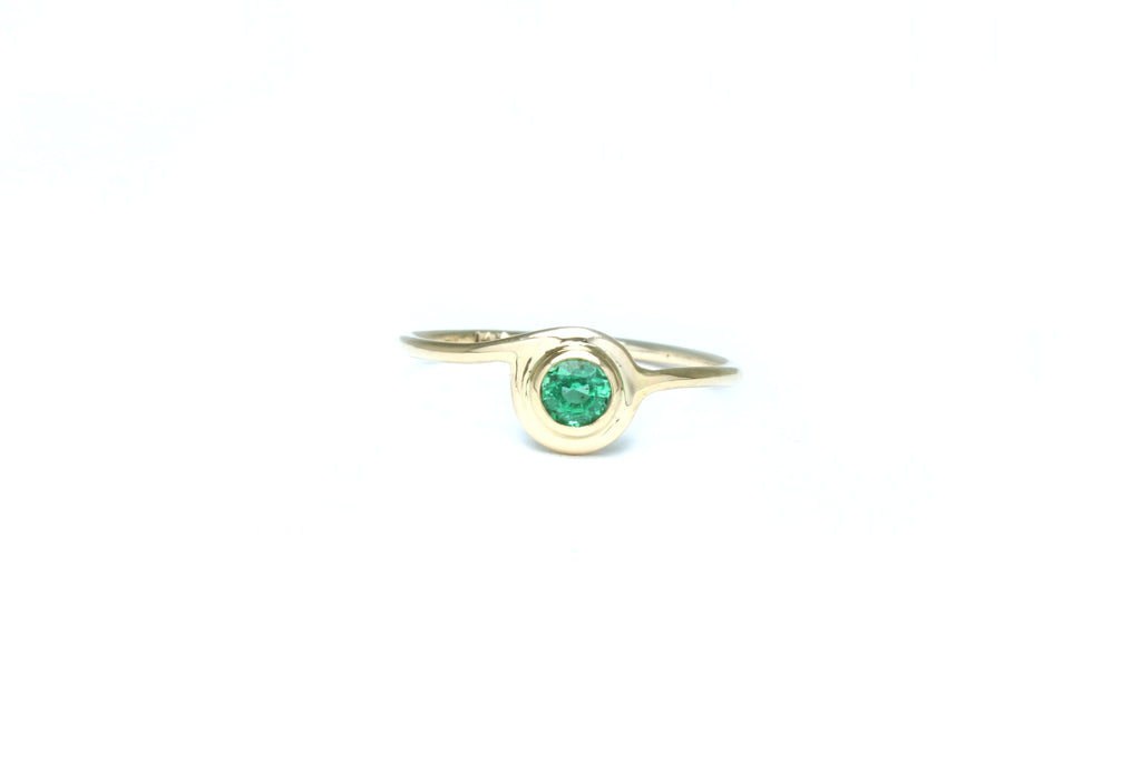 Stelliyah Engagement Ring - 14K Yellow Gold Bezel Set Emerald