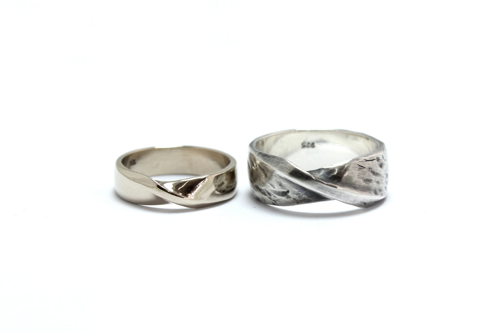 Stale & Co / Stelliyah - Mobius Strip Silver + 18K White Gold Wedding Bands