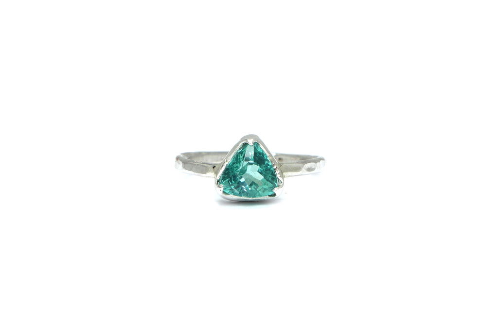 Stelliyah Engagement Ring - Bezel Set Trillion Cut Blue Apatite