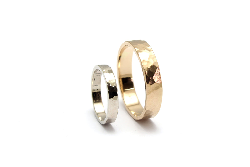 Stale & Co / Stelliyah - Hammered Textured 14K White + Yellow Gold Wedding Bands