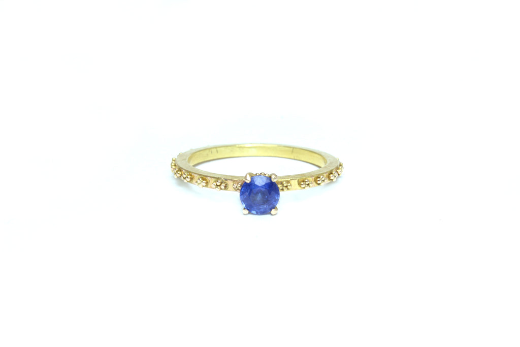 Stelliyah Engagement Ring - 14K Yellow Gold Prong Set Sapphire with Granulations Details Around