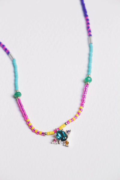 Cluster rainbow bead necklace