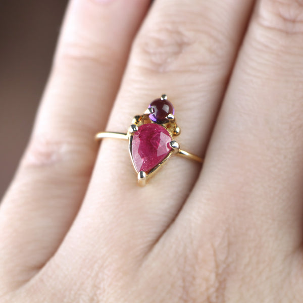 Pink Sapphire & Amethyst Ring