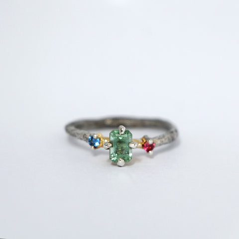 Rough octagon tourmaline ring