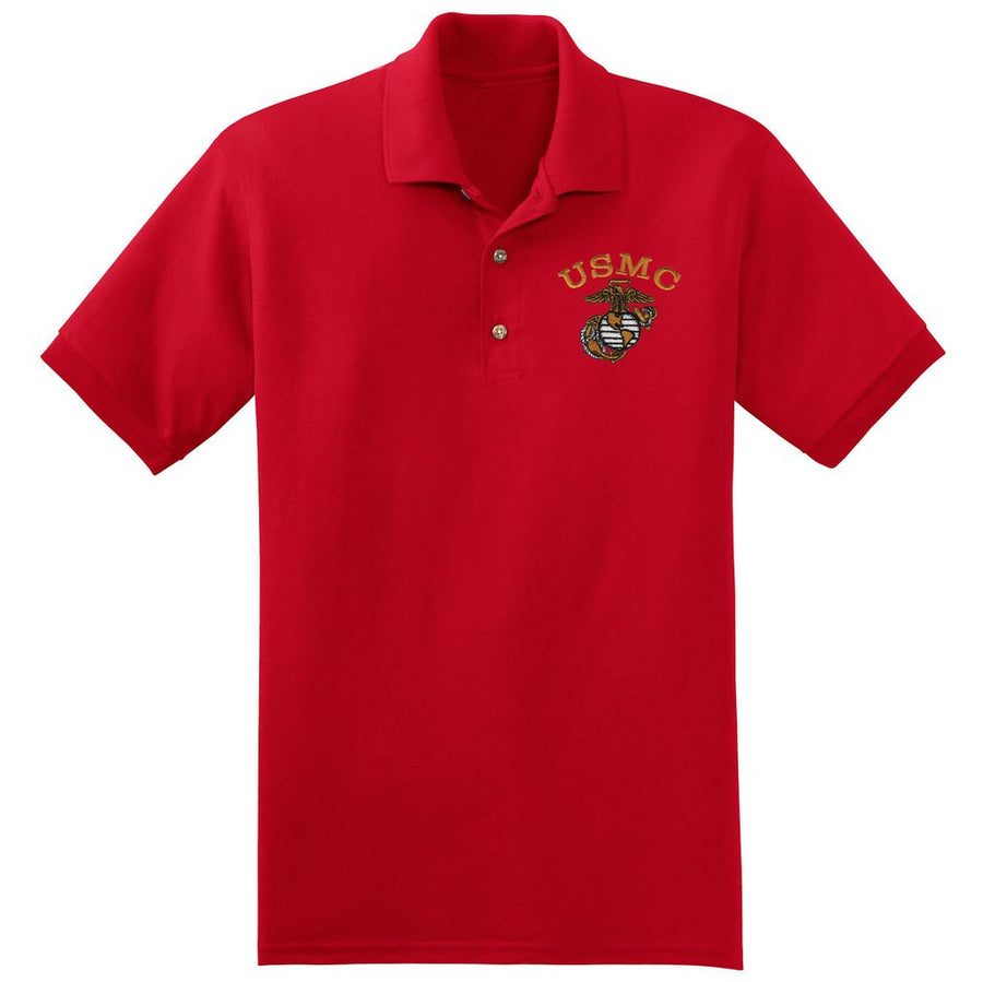 USMC Red Embroidered Polo