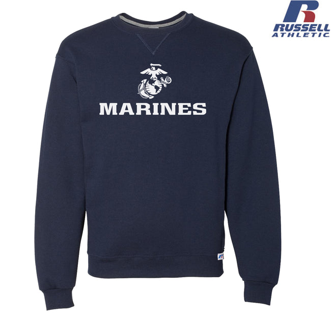 Russell Athletic White Marines Dri Power® Crewneck Sweatshirt