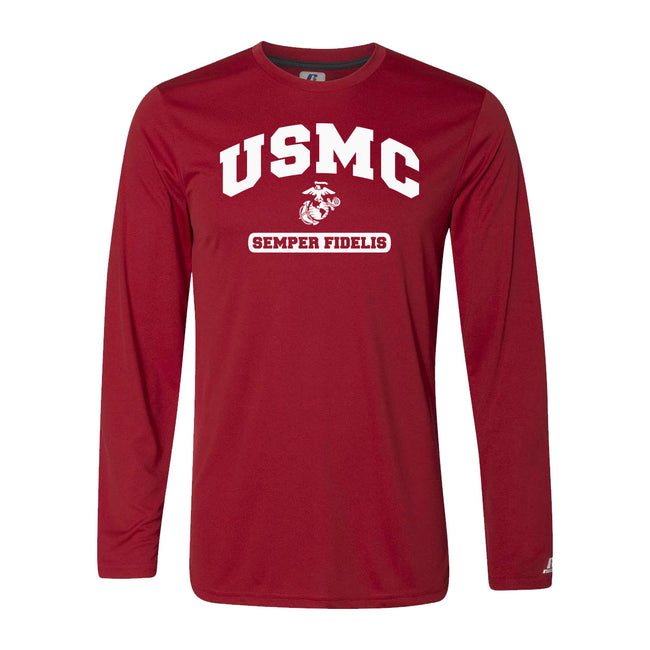 Russell Athletic Core Performance White USMC Semper Fi Long Sleeve Sleeve T-Shirt