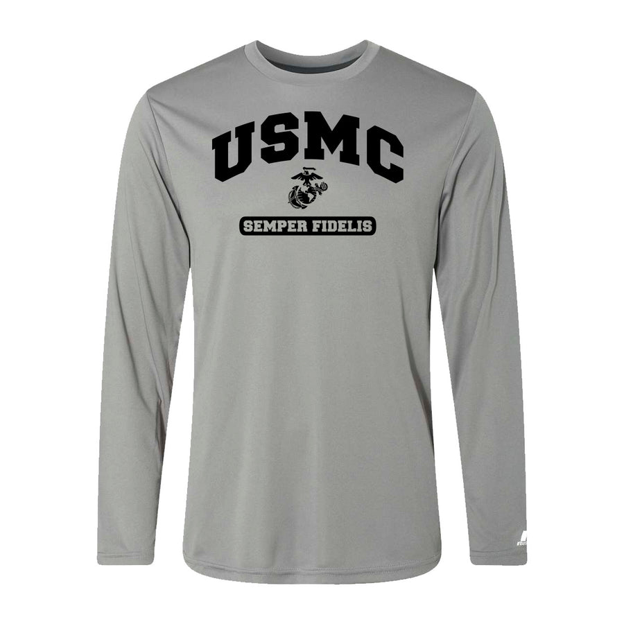 Russell Athletic Core Performance Black USMC Semper Fi Long Sleeve Sleeve T-Shirt