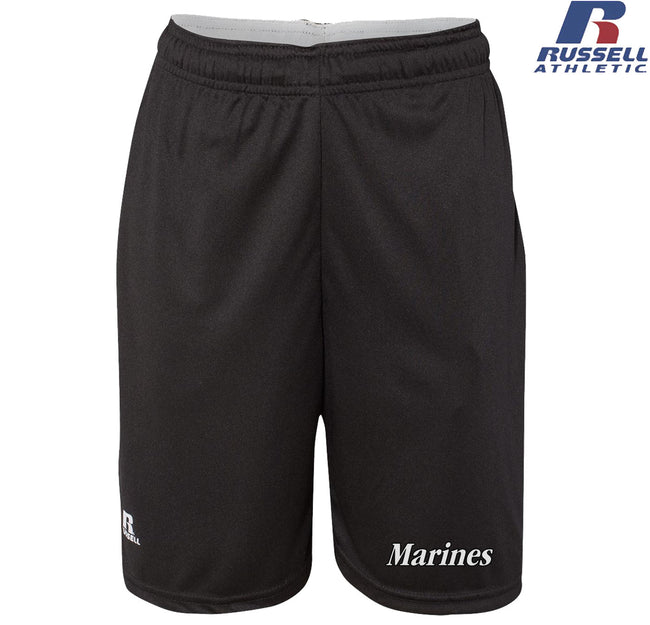 "Russell Athletic Black and White Marines Dri-Power® 10"" Shorts with Pockets"