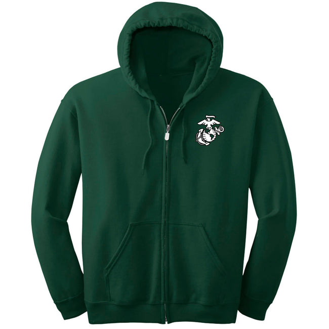 Marines Forest Green Full-Zip Hoodie
