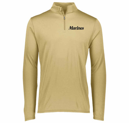 Marines Embroidered 1/4th Zip Performance Pullover in Gold
