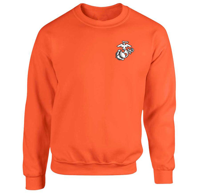 USMC EGA Chest Seal Safety Orange Sweatshirt