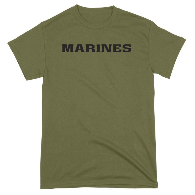 CLOSEOUT BLACK MARINES on OD GREEN  T-Shirt