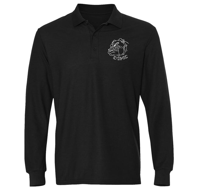 USMC Bulldog Embroidered Long Sleeve Polo