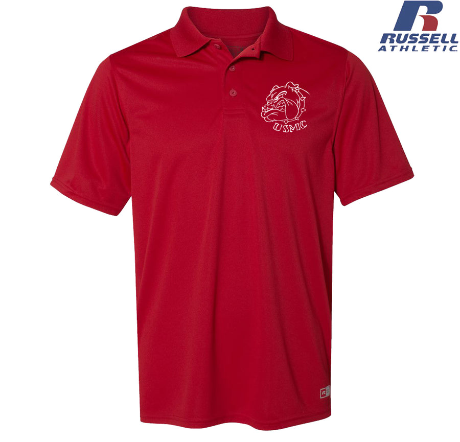 Russell Athletic USMC Bulldog Embroidered Polo