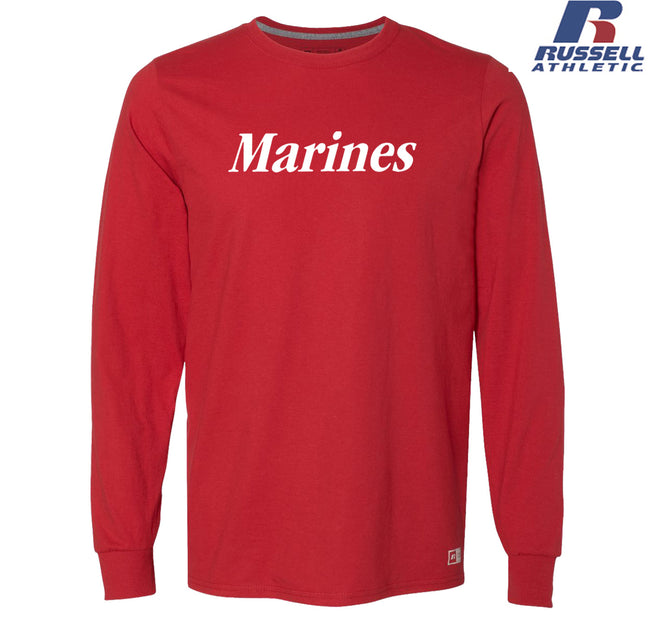 Russell Athletic White Marines Long Sleeve T-Shirt