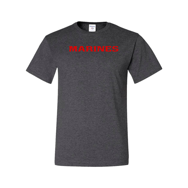 CLOSEOUT RED MARINES on DARK HEATHER T-Shirt