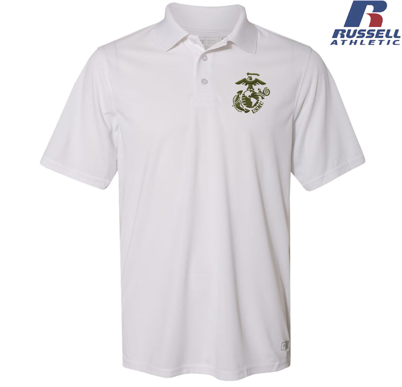 Russell Athletic Military Green EGA with USMC Embroidered Polo