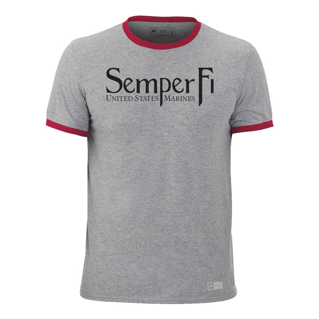 Russell Athletic Odor Protection / UPF 30+ Rating Semper Fi  - Short Sleeve Ringer Tee