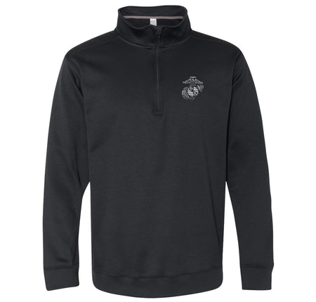 Front view of the quarter-zip USMC sweatshirt in black with the eagle, globe, and anchor embroidered on the top left corner.