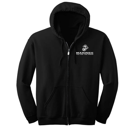 Marines The Few The Proud Full-Zip Hoodie (Black & White)