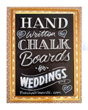 Gold frame chalkboards for Weddings