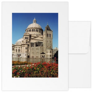 Greetings Cards: The Mother Church Original Extension with Red Flowers