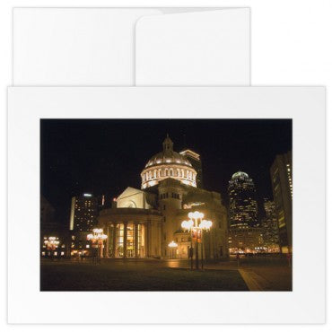 greetings card the christian science mother church at night