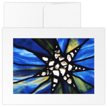 Greetings Cards: The Mother Church Original church Stained Glass Star