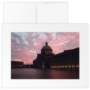 Greetings Cards: The Mother Church Reflecting Pool at sunset